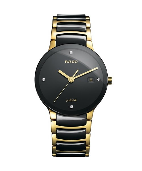 Rado Centrix Diamonds Herrenuhr Bicolor Schwarz Gold Keramik Quarz 38mm R30929712