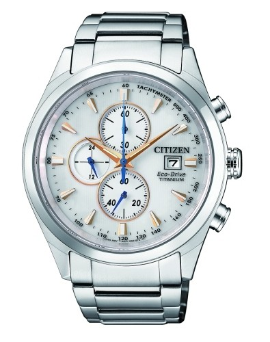 Citizen Chronograph Herrenuhr silber weiß 42mm Super Titanium Eco-Drive CA0650-82B