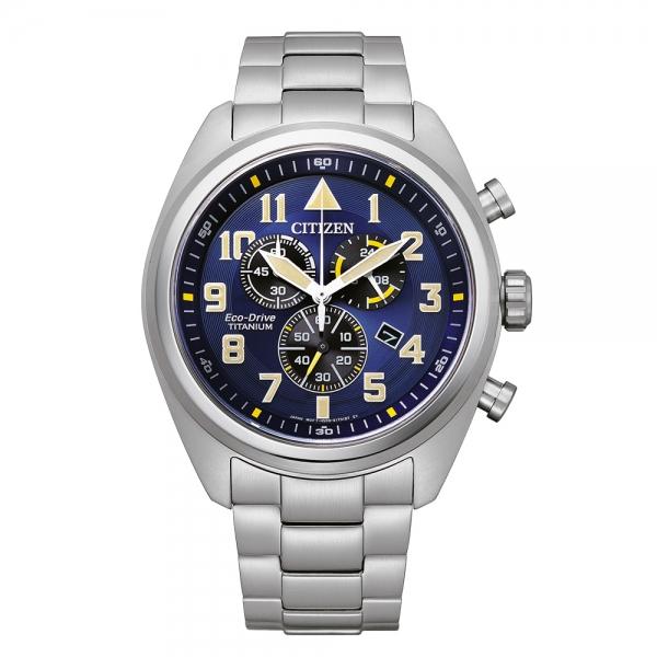 Citizen Herren Chronograph  AT2480-81L Blau Super Titanium Eco-Drive