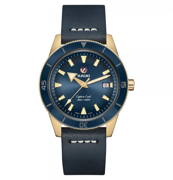 Rado Captain Cook Bronze Blau Leder-Armband Herrenuhr Automatik XL 42mm R32504205