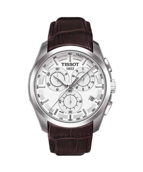Tissot Couturier Chronograph Herrenuhr 41mm silber Leder-Armband braun Quarz T035.617.16.031.00