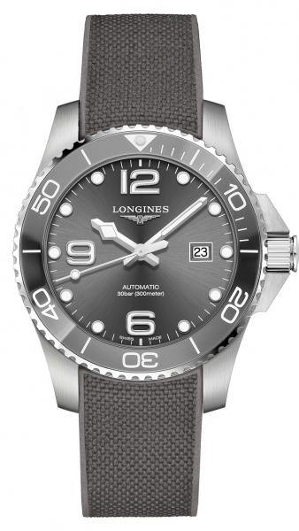 Longines HydroConquest Automatic Grau 43mm Kautschuk-Armband L3.782.4.76.9 | UHREN01