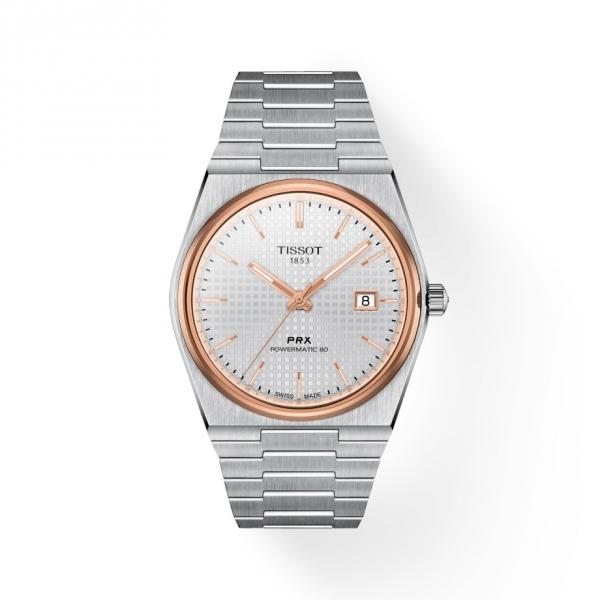 Tissot PRX Powermatic 80 Automatik Silber Roségold Herren-Uhr T137.407.21.031.00
