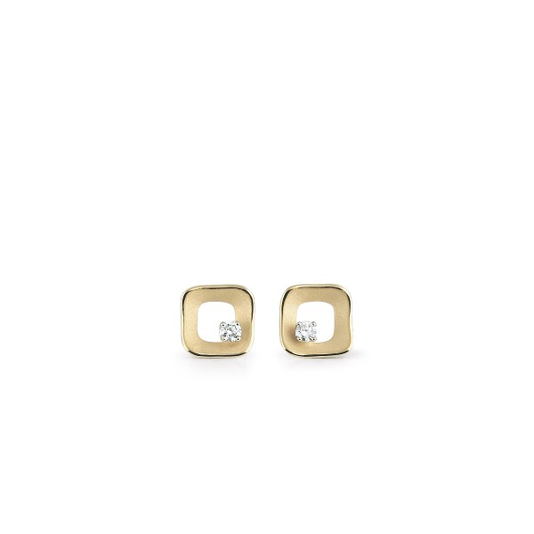 Annamaria Cammilli Damen Ohrringe MY WAY aus 750er Gelb Gold mit 2 Diamanten 0,20ct GOR2438U