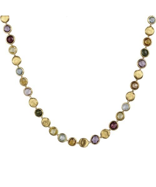 Marco Bicego Jaipur Damen Halskette 48,5cm aus 18kt Gelbgold mit Edelsteinmix CB1562 MIX01