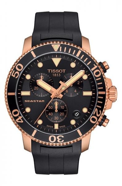Tissot Seastar 1000 Chronograph Herren Uhr Quartz Rosegold & Schwarz 45mm T120.417.37.051.00