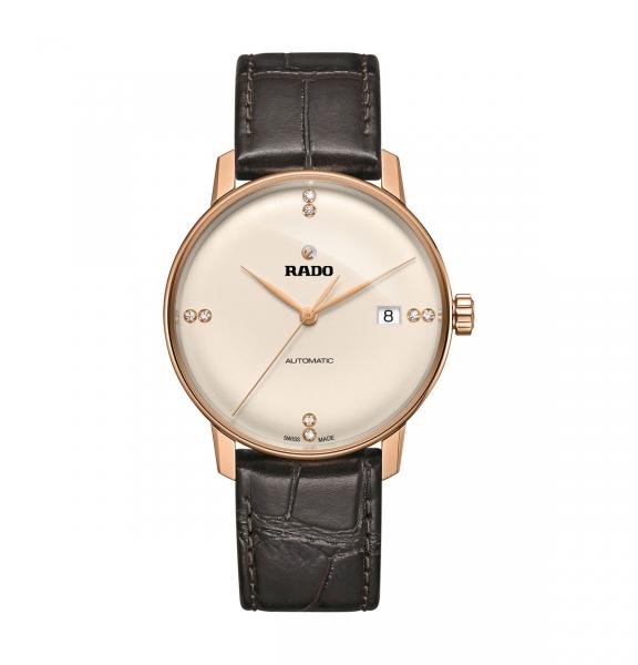 Rado Coupole Classic Automatic Diamonds Rosegold Leder-Armband 38mm R22861765