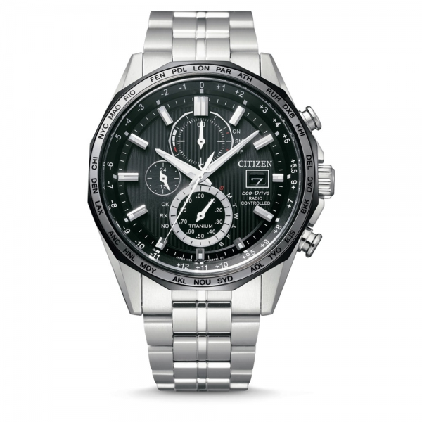Citizen Funkuhr Herren Chronograph 44mm Super Titanium Eco-Drive Weltzeit AT8218-81E