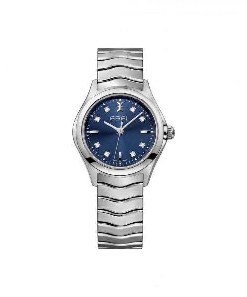 Ebel Wave Lady Damenuhr mit blauem Zifferblatt und 8 Diamanten 1216315