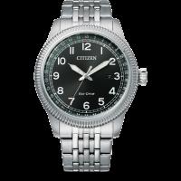 Citizen Eco-Drive Sports Herren Uhr Quartz Zifferblatt schwarz & Edelstahl-armband