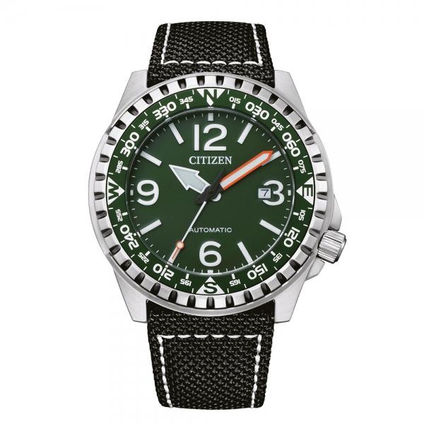 Citizen Herrenuhr Automatik 46mm Silber Grün & Schwarzes Armband aus Nylon Elegant NJ2198-16X