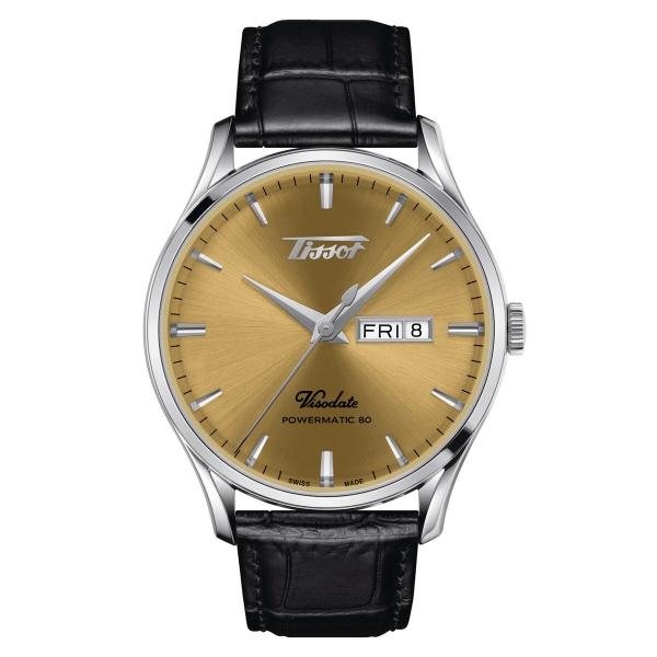 Tissot Heritage Visodate Powermatic 80 Gold Leder-Armband Herrenuhr 42mm T118.430.16.021.00
