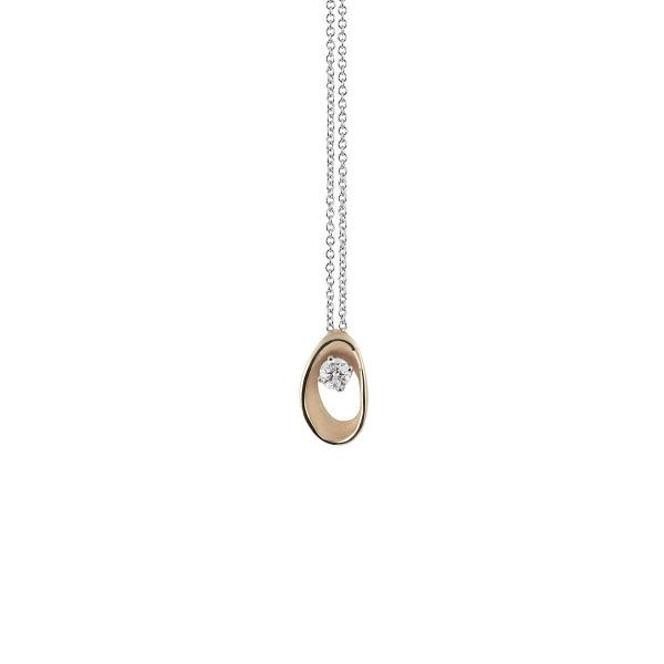 Annamaria Cammilli Halskette Natural Beige Gold 18 Karat Anhänger mit Diamanten Dune Assolo GPE1548N | UHREN01