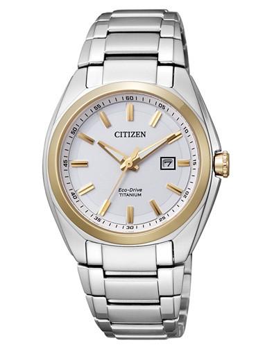 Citizen Damenuhr silber gold weiß Eco-Drive Super Titanium EW2214-52A
