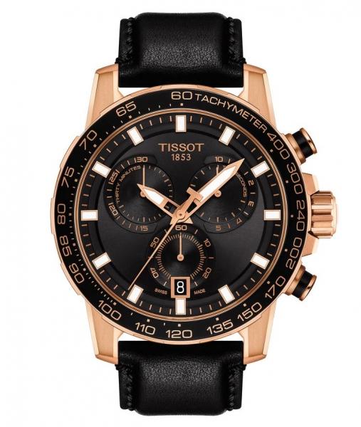 Tissot Supersport Chronograph Rosegold Schwarz Leder-Armband 45mm Quarz T125.617.36.051.00 | UHREN01