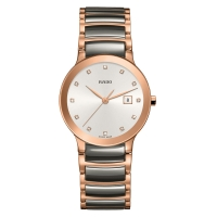 Rado Centrix Diamonds Damenuhr Bicolor Grau Rosegold 28mm Quarz Jubile R30555762