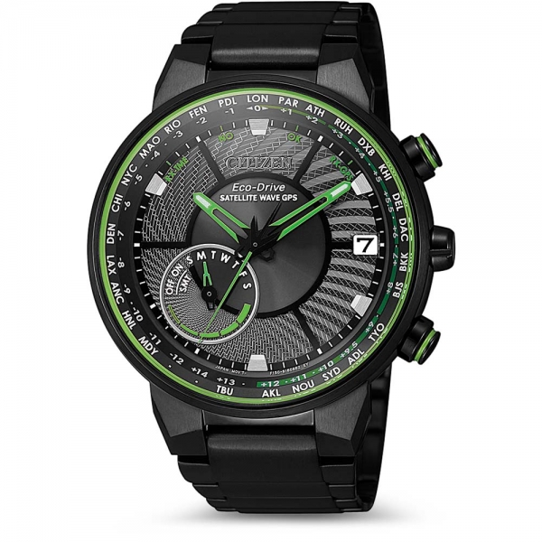 CITIZEN SATELLITE WAVE GPS CC3075-80E in grün & schwarz mit Metallarmband