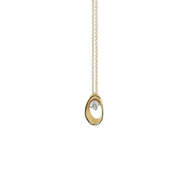 Annamaria Cammilli Halskette Yellow Sunrise Gold 18K Anhänger mit Diamanten Dune Assolo GPE1548U | UHREN01