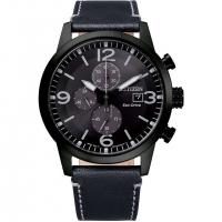 Citizen Eco-Drive Herren Uhr Chronograph 43mm Schwarz Grau mit schwarzem Leder-armband CA0745-29E | UHREN01