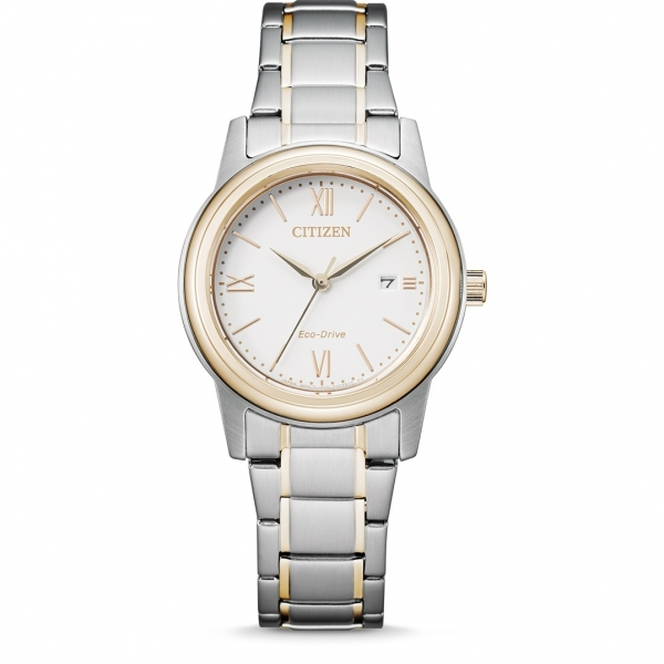 CITIZEN FE1226-82A Eco-Drive Damenuhr in bicolor mit Metallarmband