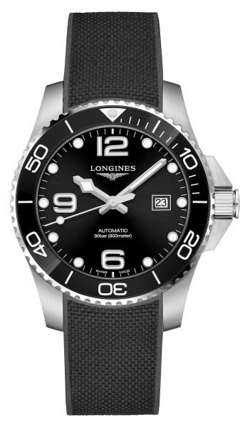 Longines HydroConquest 43mm Schwarz Automatik Kautschuk-Armband L3.782.4.56.9| UHREN01