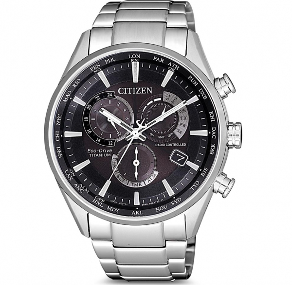 Citizen Eco-Drive Funkuhr Chronograph Super Titanium in schwarz CB5020-87L