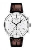 Tissot Carson Chronograph Herrenuhr Zifferblatt weiß mit Leder-Armband braun T122.417.16.011.0