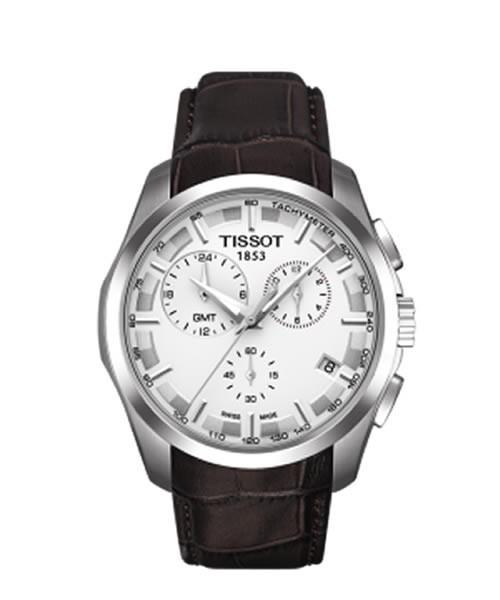Tissot Couturier GMT Chronograph 41mm silber Leder-Armband braun Quarz T035.439.16.031.00