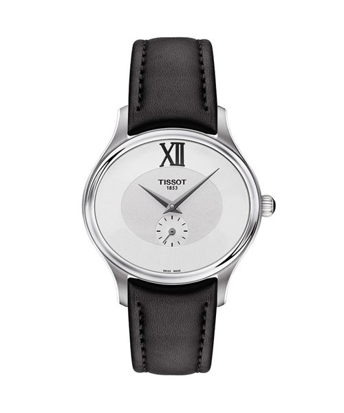 Tissot Bella Ora Damen-Uhr oval silber Lederarmband schwarz T103.310.16.033.00
