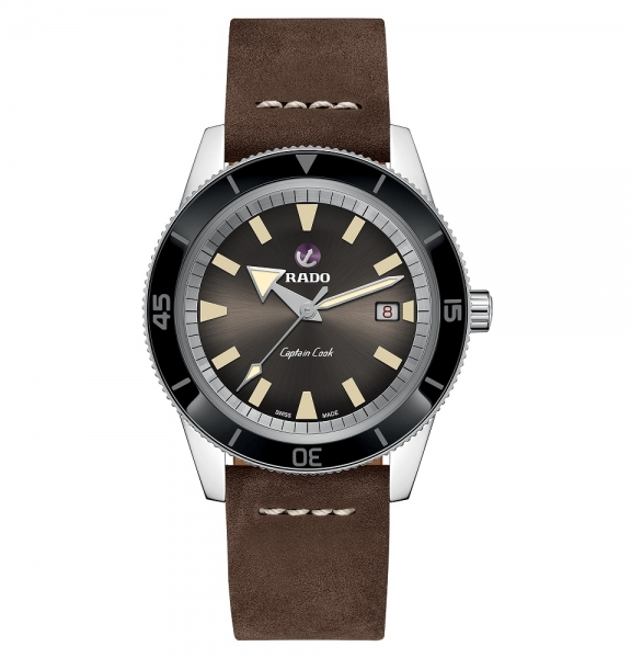 Rado Captain Cook Automatik Uhr Herren 42mm braun Leder-Armband R32505305 | Uhren01