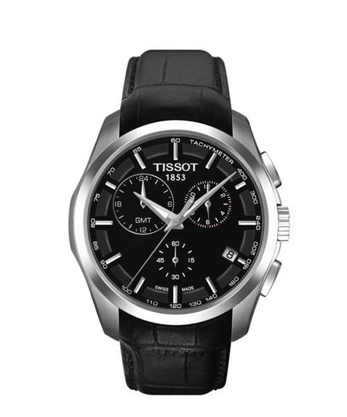 Tissot Couturier GMT Chronograph Herrenuhr 41mm schwarz Leder-Armband Quarz T035.439.16.051.00