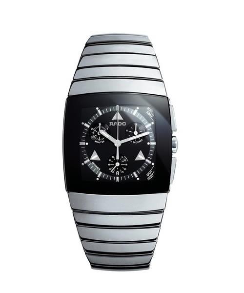 Rado Sintra XXL Chronograph Herren Silber mit schwarzem Zifferblatt & Keramik-Armband Quarz R13870152