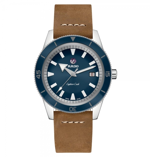Rado Captain Cook XL 42mm Automatic mit blauem Zifferblatt & Leder-Armband R32505205