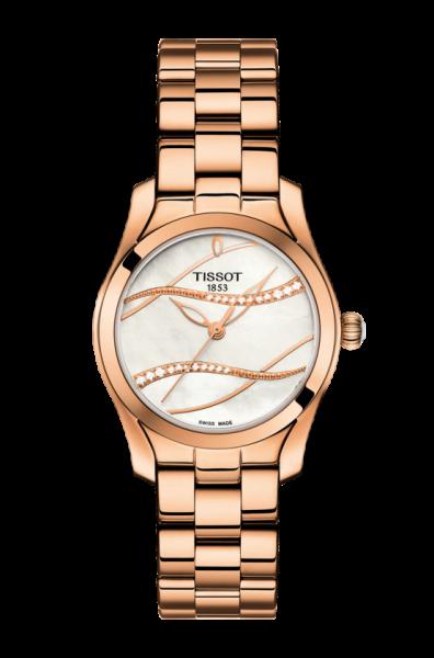 TISSOT T-Wave 30mm Quartz Damenuhr mit 22 Diamantenbesatztes Perlmutt Zifferblatt T112.210.33.111.00