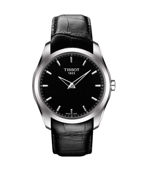 Tissot Couturier Big Date Herrenuhr 39mm schwarz Leder-Armband T035.446.16.051.00