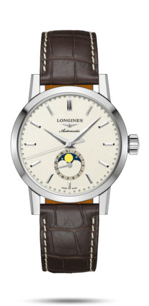 Longines 1832 Herrenuhr Mondphase Automatic 40mm Alligator Leder-Armband braun L4.826.4.92.2 | UHREN01