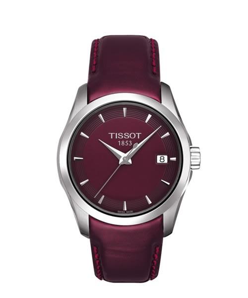 Tissot Couturier Lady Damenuhr bordeaux-rot Leder-Armband Quarz T035.210.16.371.01