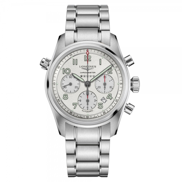 Longines Spirit Automatik Chronograph Herrenuhr 42mm Silber Edelstahl-Armband L3.820.4.73.6