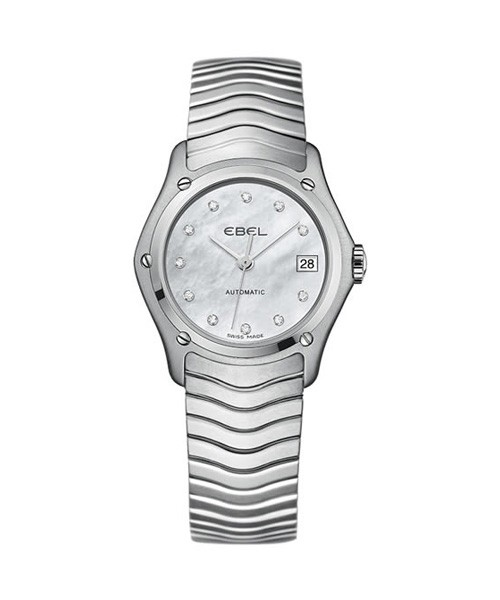 Ebel Damenuhr Automatik silber Perlmutt Zifferblatt weiß mit Diamanten 27mm Classic Lady 1216002 | Sale | UHREN01