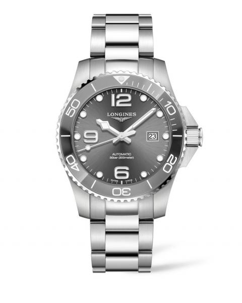 Longines HydroConquest 43mm Grau Anthrazit Automatik Herren Uhr Edelstahl-Armband L3.782.4.76.6 | Uhren01