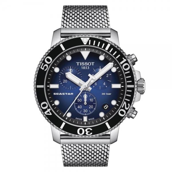 Tissot Seastar Chronograph Schwarz Blau 45mm Milanaise-Armband Quarz T120.417.11.041.02