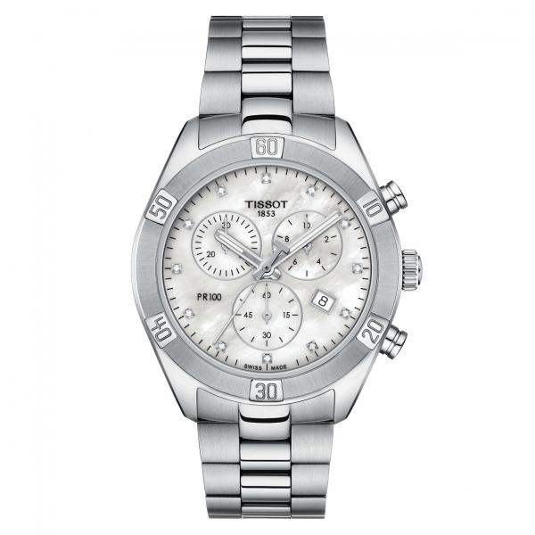 Tissot PR100 Sport Chic Lady Chronograph Damenuhr Silber Zifferblatt mit Diamanten T101.917.11.116.0