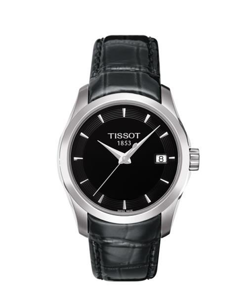 Tissot Couturier Lady Damenuhr schwarz Leder-Armband Quarz T035.210.16.051.01
