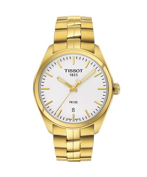Tissot PR 100 Gold Herrenuhr Zifferblatt siler weiß Quarz 39mm T101.410.33.031.00