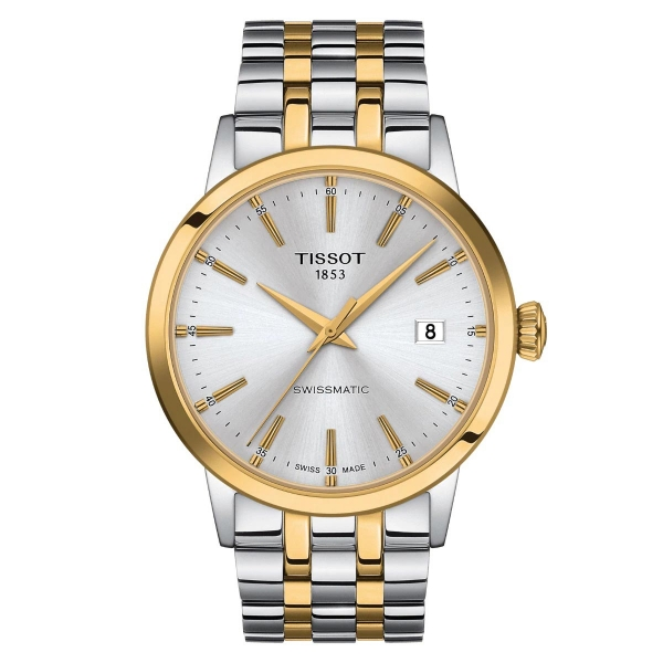 Tissot Classic Dream Swissmatic Silber Gold Bicolor Herrenuhr Automatik 42mm T129.407.22.031.01