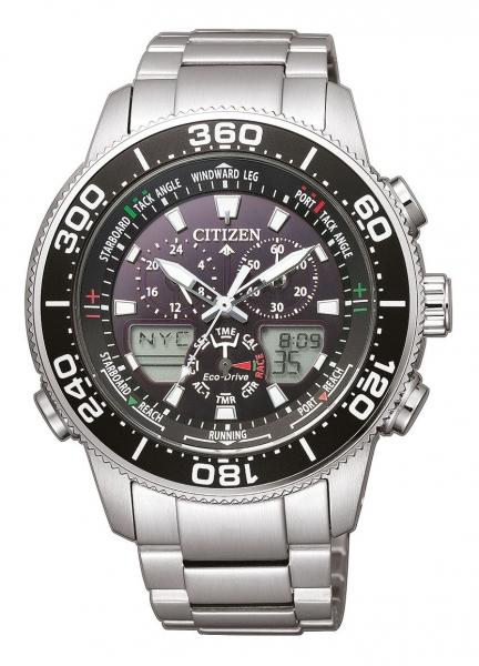 Citizen Herrenuhr Chronograph 44mm schwarzes Zifferblatt Analog & Digital-Anzeige Eco Drive Edelstahl-Armband Promaster Marine Yacht JR4060-88E zum günstigen Preis online kaufen | UHREN01