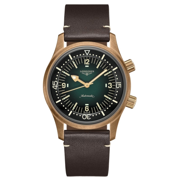 Longines Legend Diver Herrenuhr Automatik 42mm Bronze Grün Leder-Armband L3.774.1.50.2