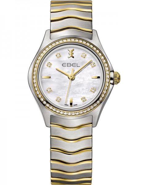 Ebel Damenuhr mit Diamanten Bicolor Gold & Edelstahl Zifferblatt Perlmutt weiß 30mm Quarz Uhr Ebel Wave Lady 1216351 | Sale | UHREN01