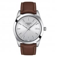 Tissot Gentleman Quartz Herrenuhr Leder-Armband Braun & Zifferblatt Silber 40mm T127.410.16.031.00 | UHREN01