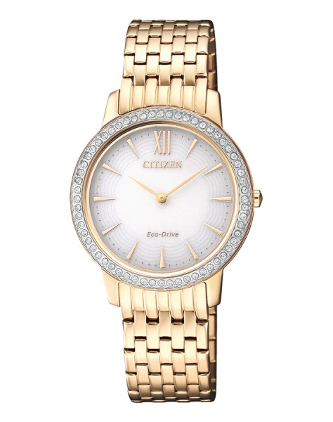 Citizen Damenuhr Gold mit Swarovski Elements Eco-Drive Solaruhr EX1483-84A